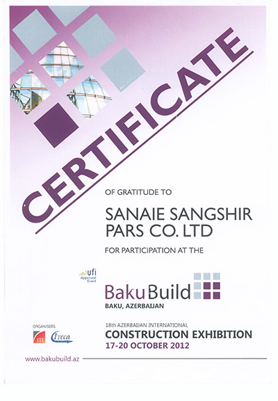 Sangshir Pars Industries Company certtificate